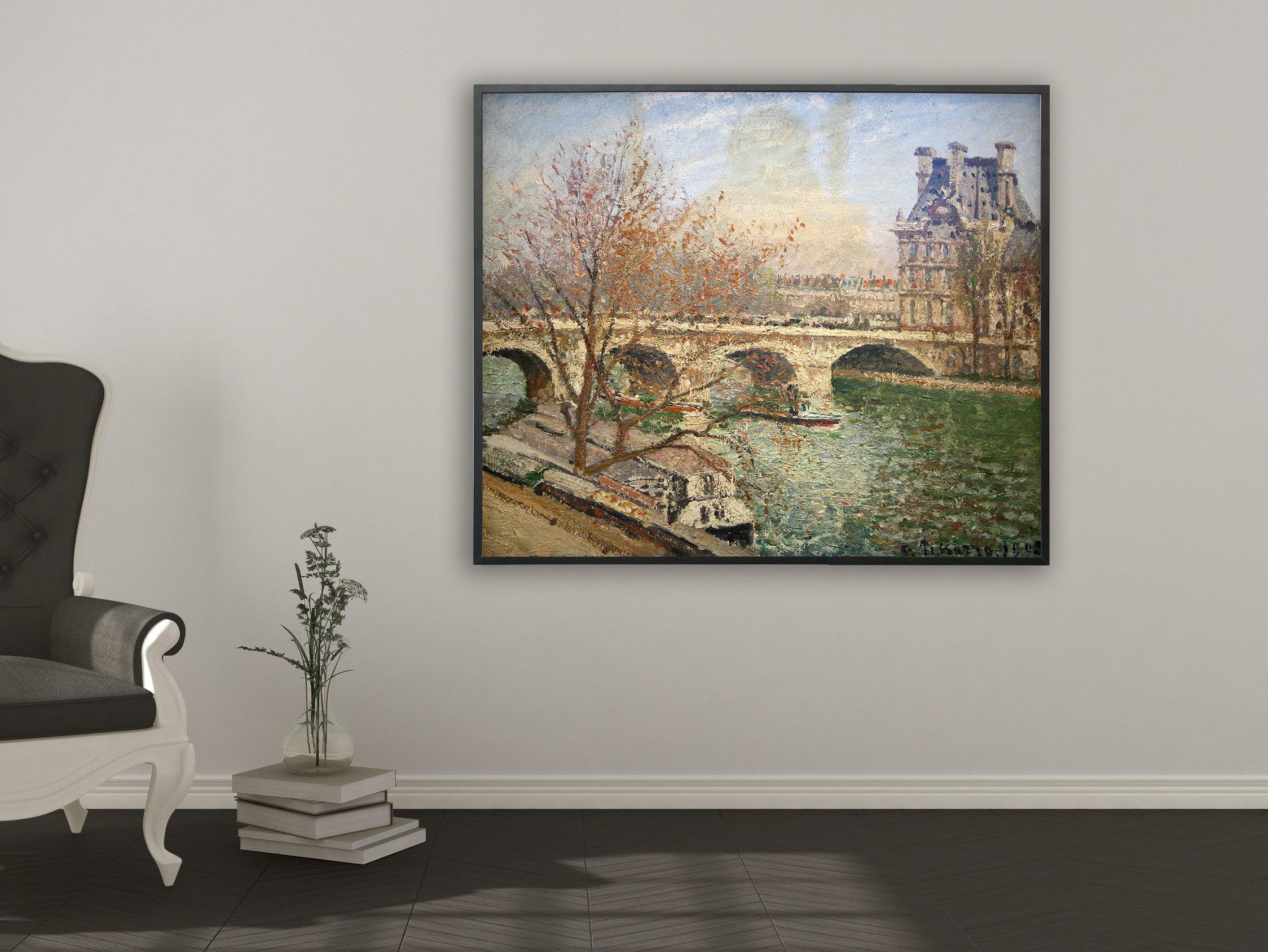 Camille Pissarro - Die königliche Brücke und der Flora Pavillion, Bilderrahmen schwarz